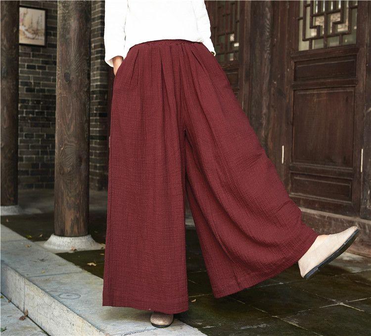 b87423cc443c39 2017 spring cotton linen loose pants – Asian style cotton and linen women's  yoga pants wide leg pants