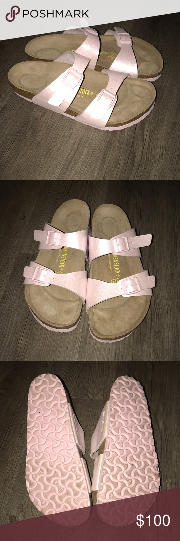 856c4b1ae42b Pale pink Birkenstocks worn once Only worn once too big for me but still  super cute. Open to reasonable trades and offers 🙂 Birkenstock Shoes  Sandals