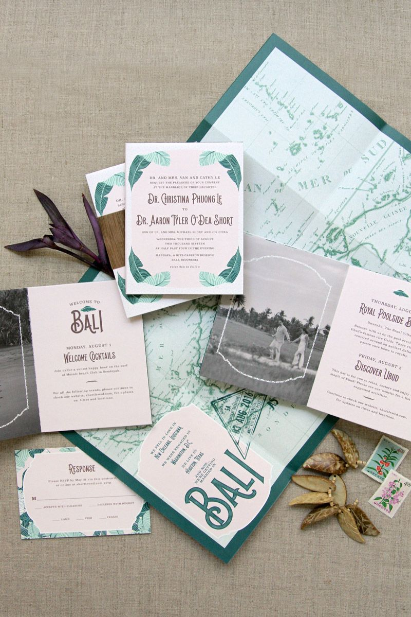Fold Out Poster Vintage Bali Map Custom Wedding Invitation Booklet Ane Invitations