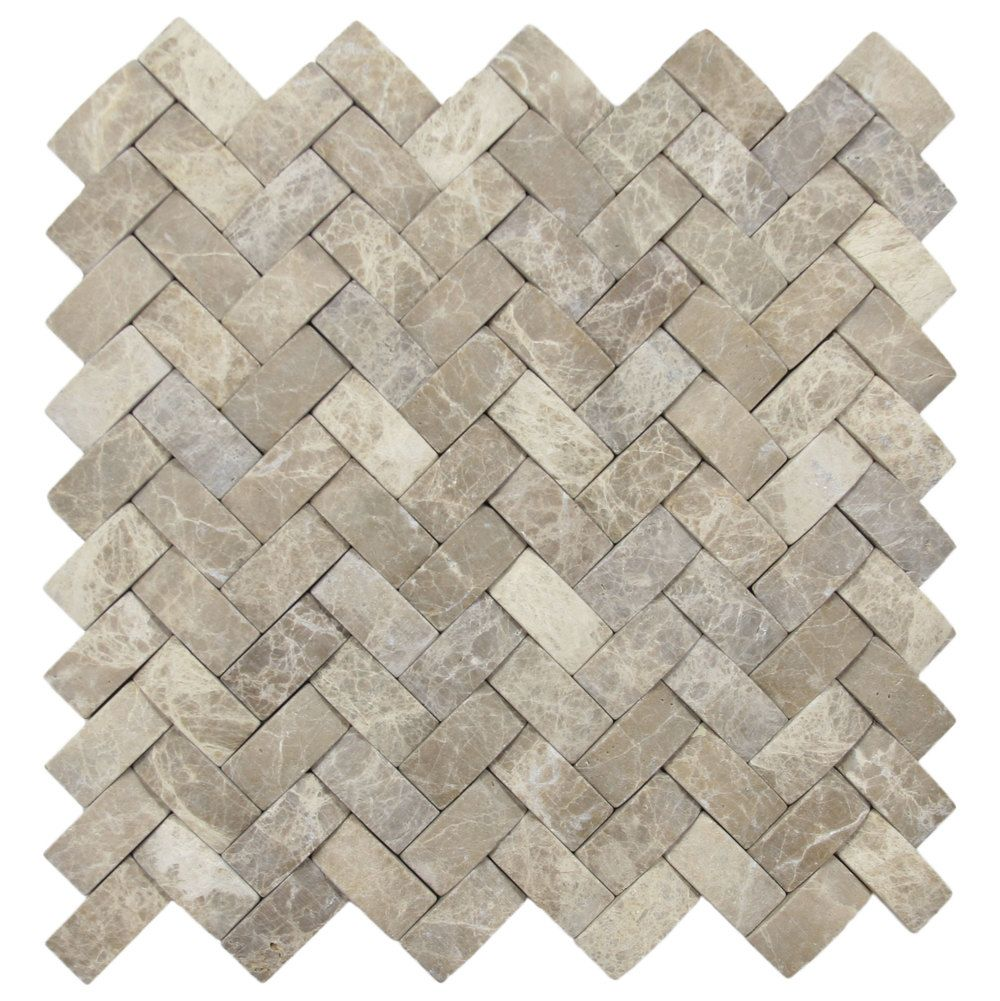 3d brown marble basket weave stone tile
