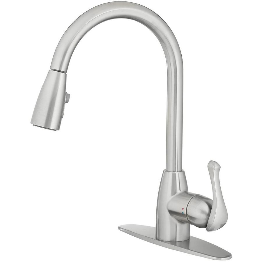 Project Source Stainless Steel 1 Handle Deck Mount Pull Down Handle Lever Residential Kitchen Faucet Deck Plate Included Lowes Com Kitchen Faucet Faucet Faucet Handles