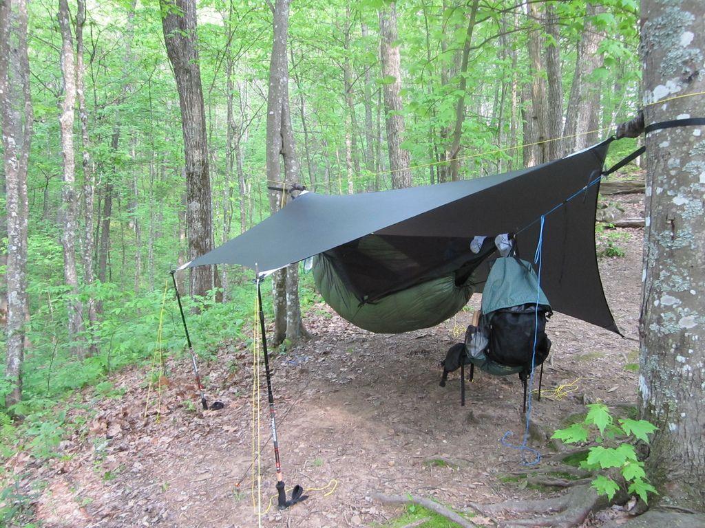 hammock setup with DIY tarp set up  Camping  Backpacking