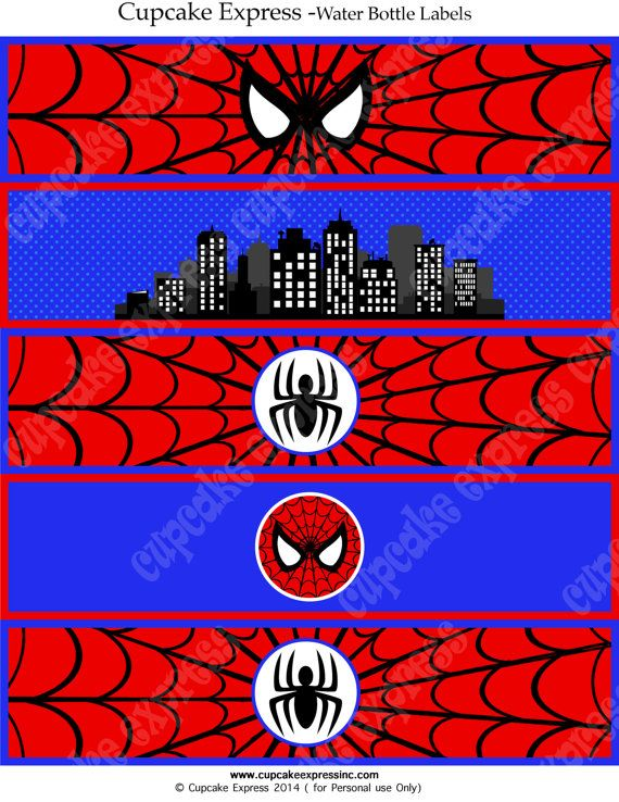 Spiderman INSTANT Printable Water Bottle Labels Birthday Party DIY ...
