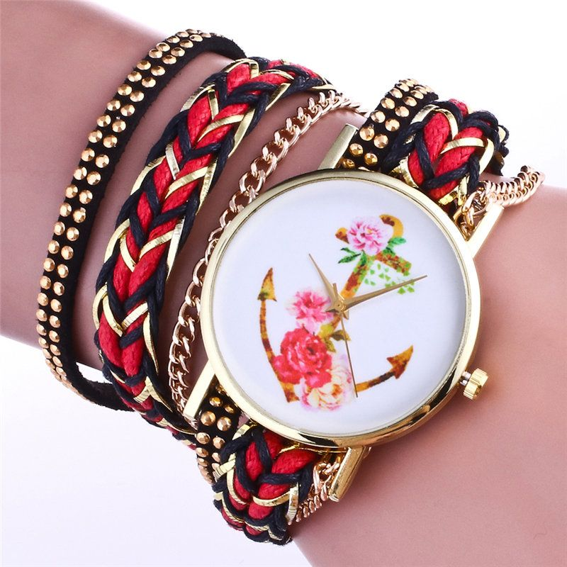 Fashion gold women bracelet watch Creative retro anchors roses dial Retro leather girl watch Ladies brand Wristwatches female #Affiliate