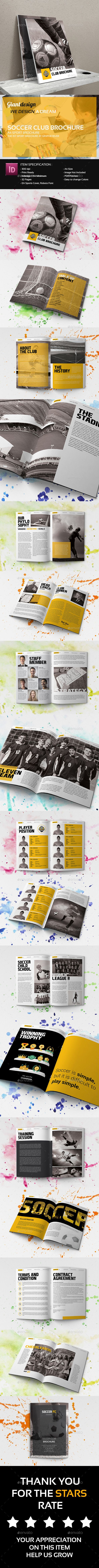 Excellent InDesign Soccer Club Brochure Template • Only available ...