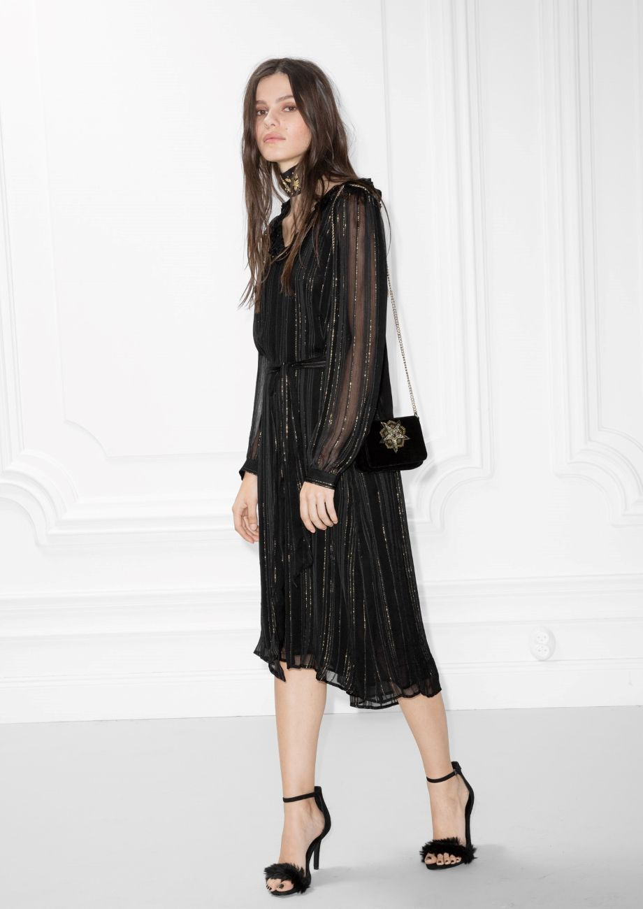 025f1d90a22   Other Stories image 1 of Metallic Stripes Frill Dress in Black ...