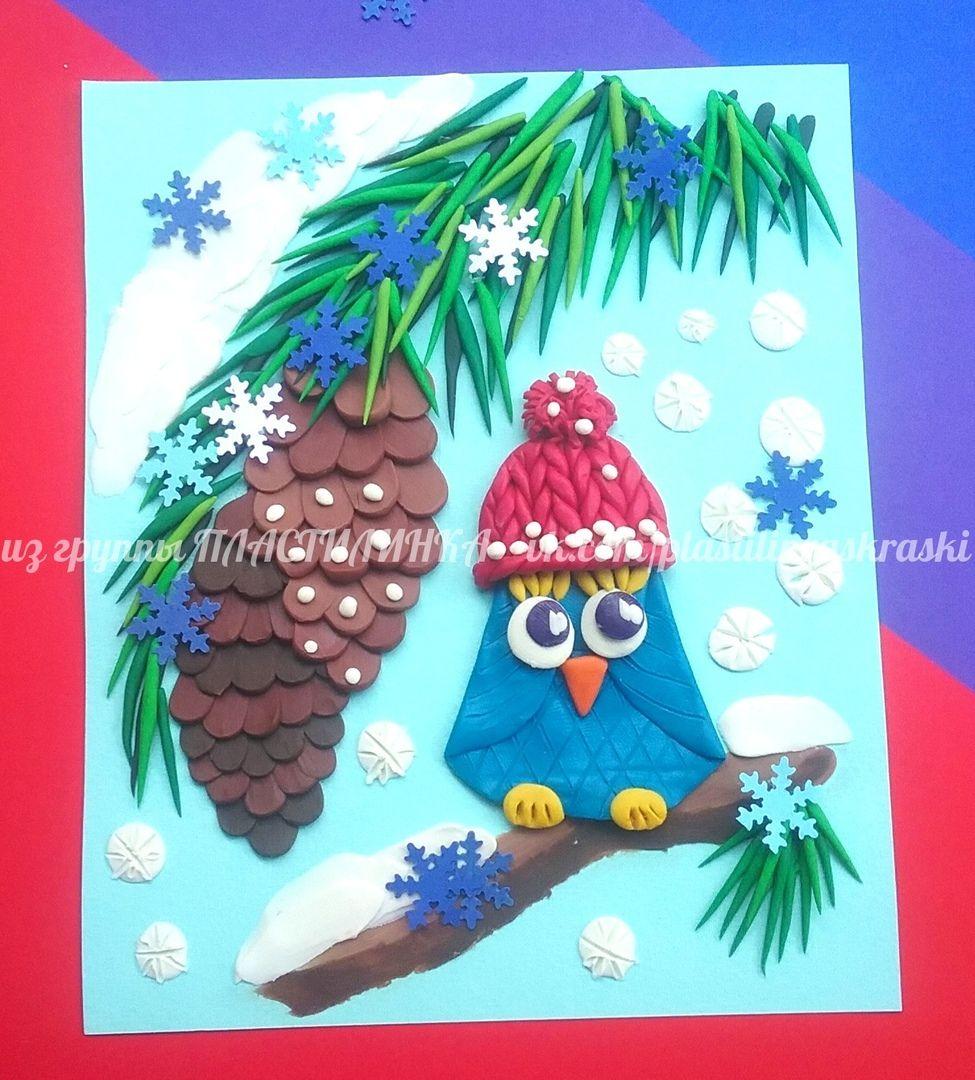 Новогодняя открытки из пластилина