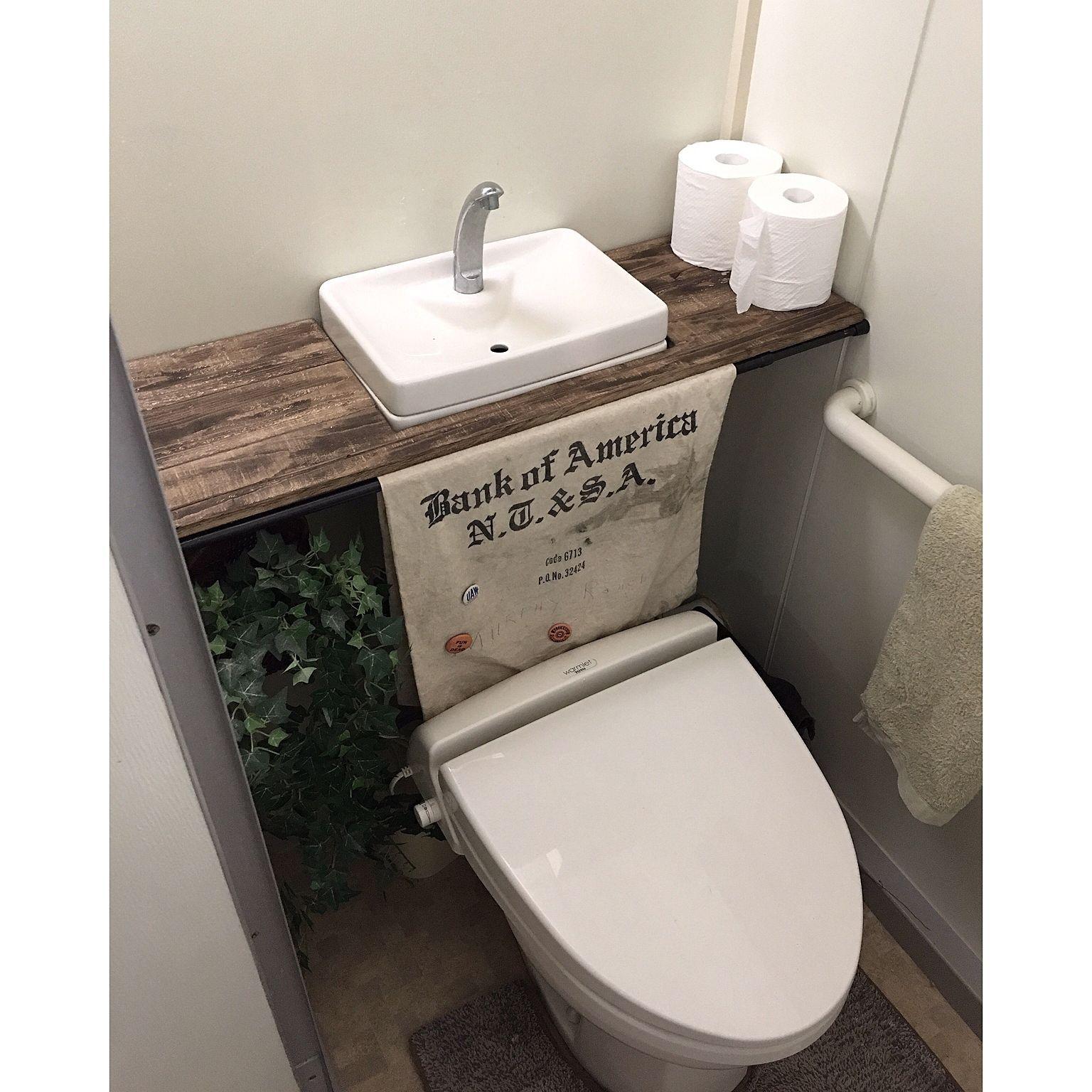 バス トイレ タンクレス風トイレ トイレタンク隠し Diy トイレ改造計画