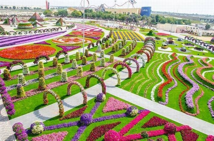 Este fantástico local é o maior jardim de flores do mundo e situa-se, surpreendentemente, em Dubai.  jardins, flores Fonte da Imagem Empregando técnicas de agricultura biosustentável, inclusive reutilização da água, este local fabuloso possui 45 milhões de flores distribuídas em 6.800 m2.  jardins, flores Fonte da Imagem Este jardim era uma área desértica e foi inaugurado não faz muito tempo. Seus proprietários pretendem expandir os negócios, colocando restaurantes e lojas no local.  j