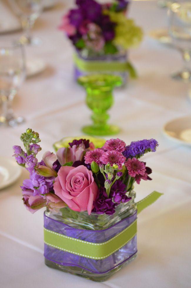 Centerpiece in pink & lavender