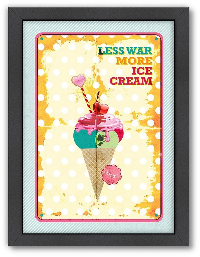 Americanflat Patricia Pino \'\'Less War More Ice Cream\'\' Framed Wall ...