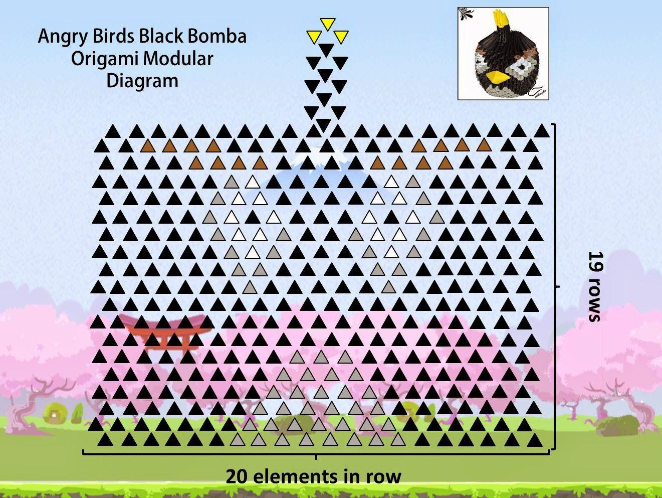 3d Origami Black Bomb Angry Birds Diagram Falten Rh Com Bird 3D Diagrams Free Download