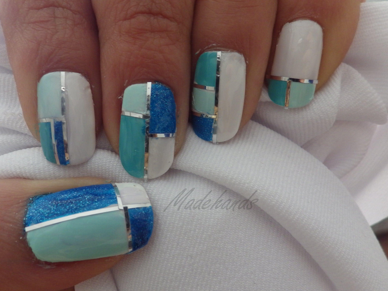 Color block nail art// Diseño de uñas collage// Striping tape nails ...