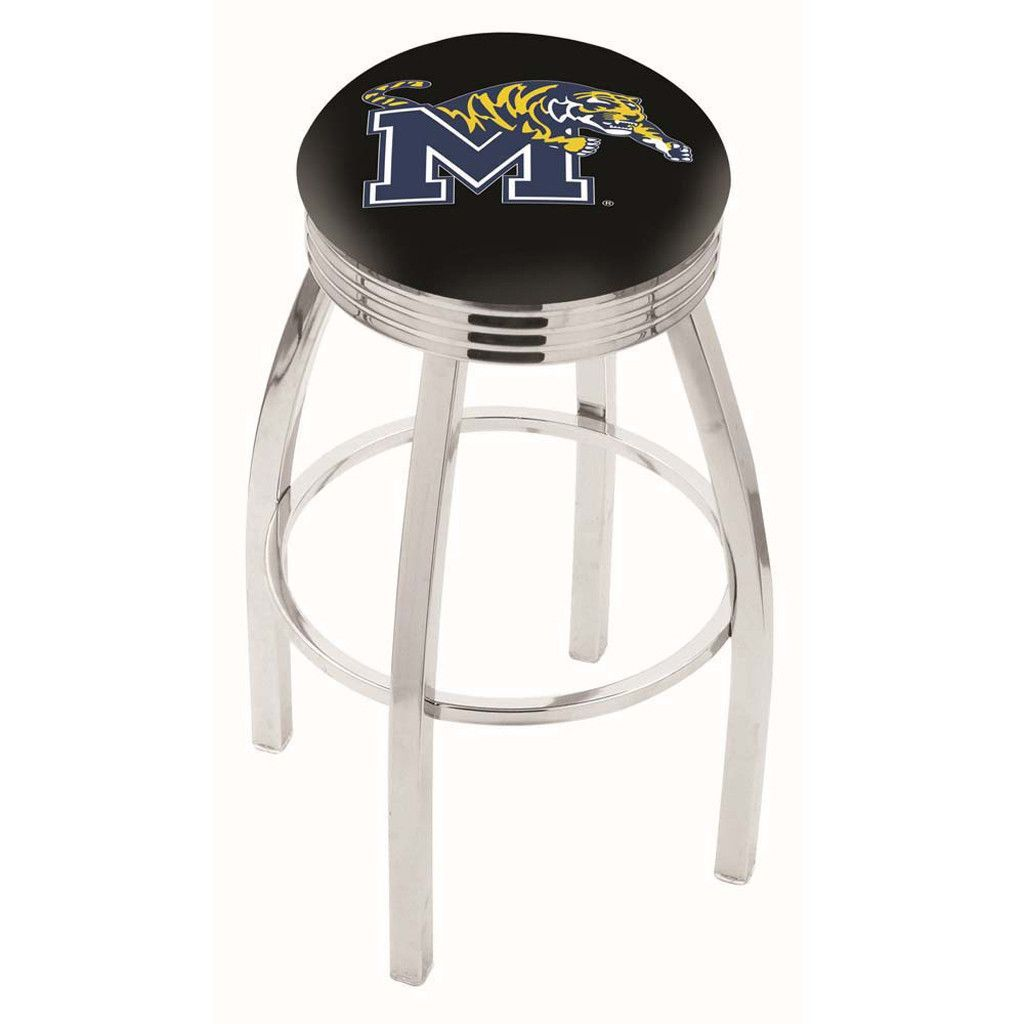 Memphis Tigers Ribbed Chrome Swivel Bar Stool