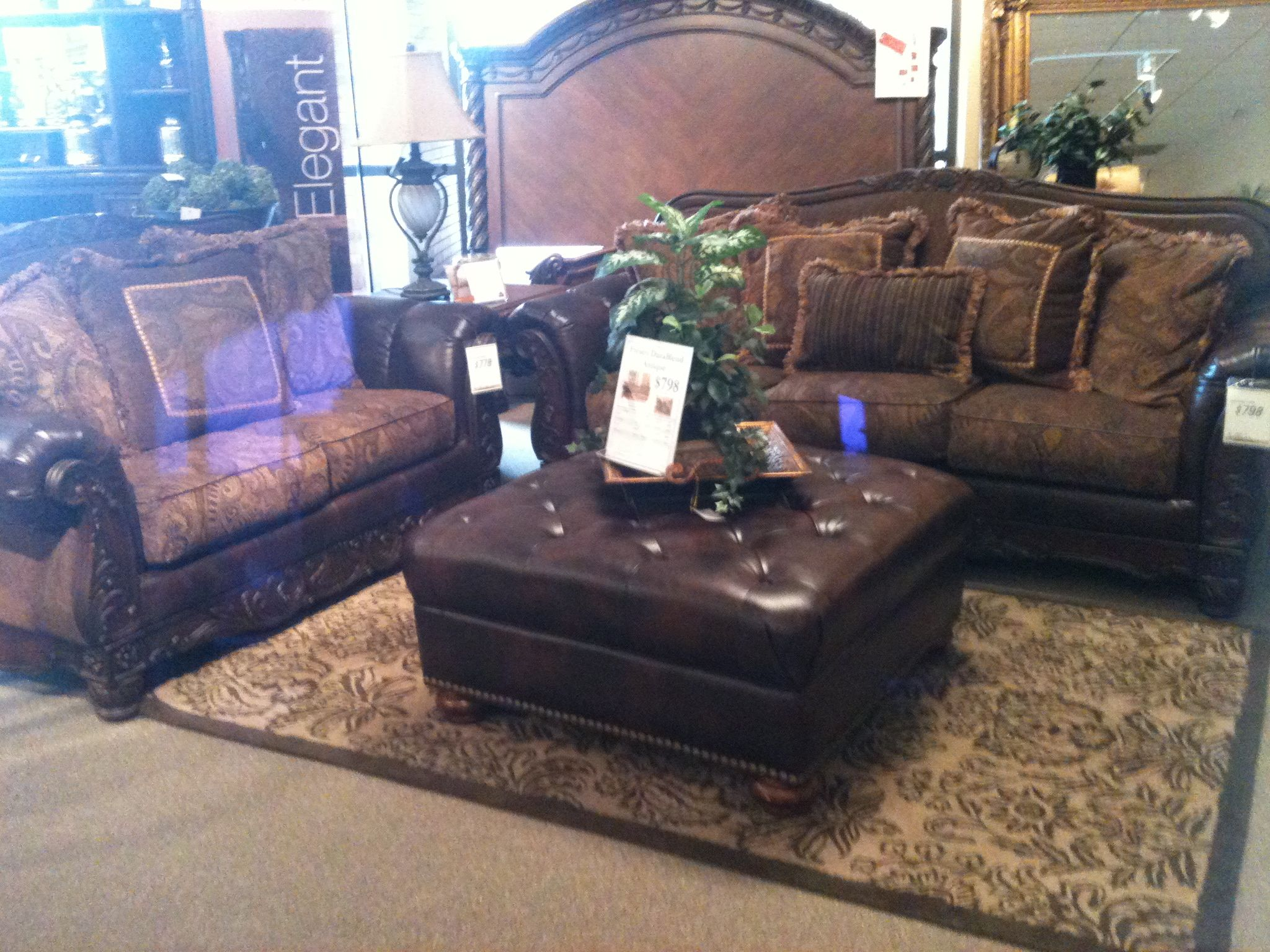Rustic Leather Old World Furniture Set Ashley