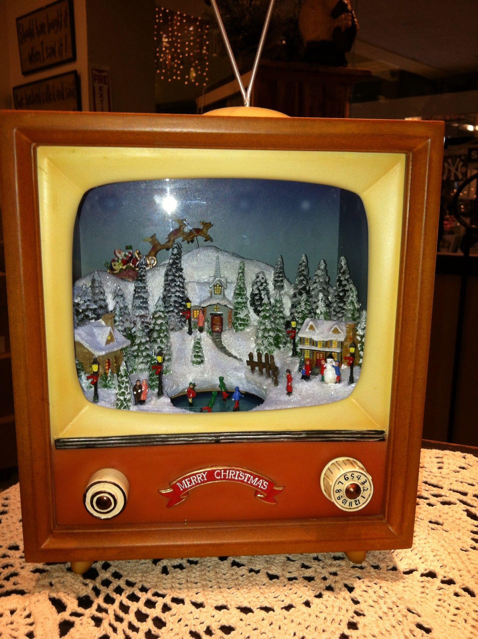 Vintage Tv Christmas Snow Scene Music Box Christmas Diorama Holiday Decor Christmas Christmas Scene