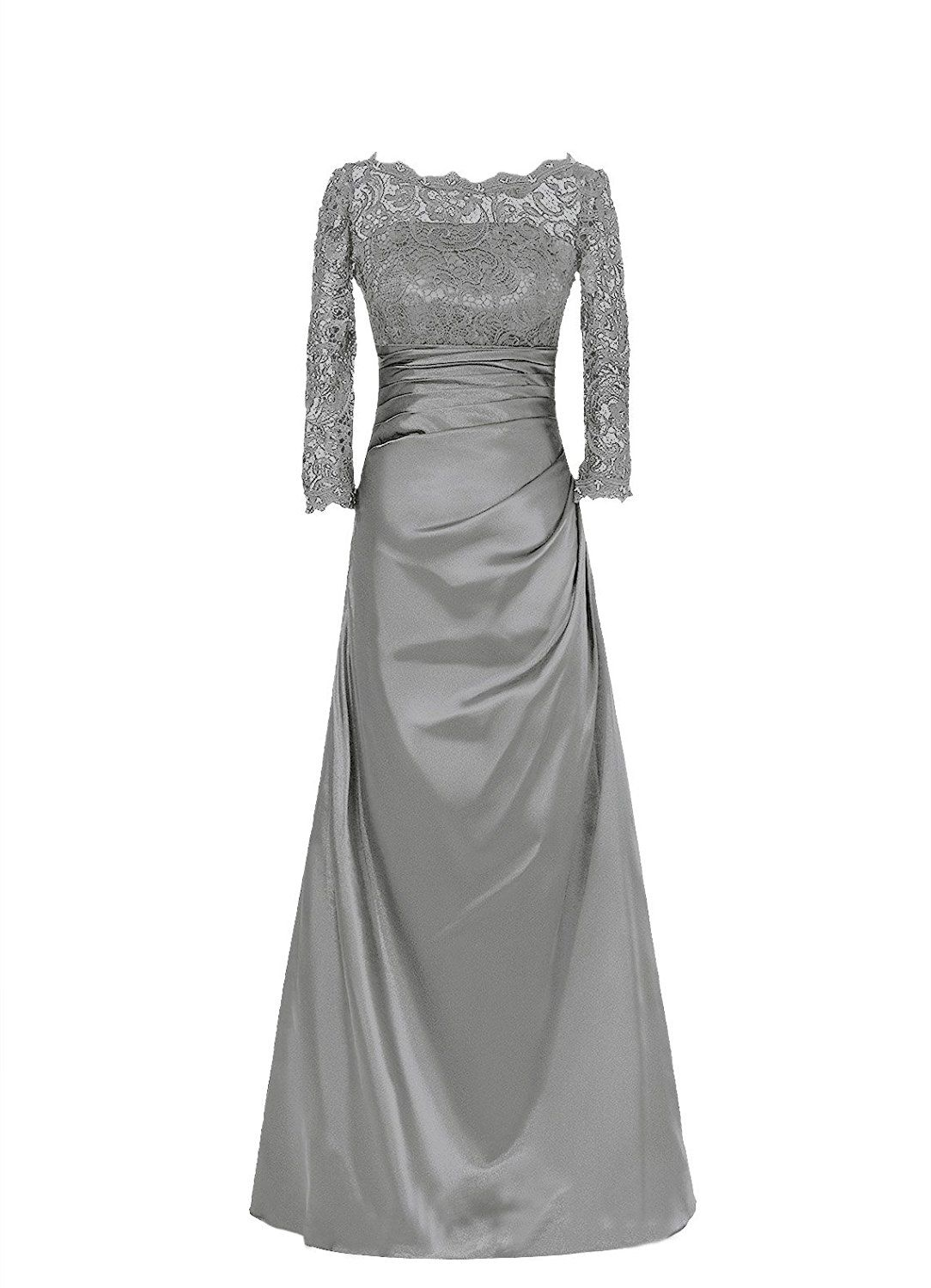 Diyouth Bateau Neckline Lace Sleeves Long Mother of the Bride Dress * Awesome product. Click the image : Mother of the Bride
