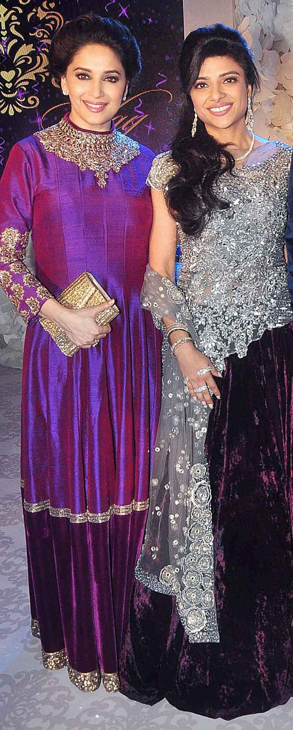 Madhuri Dixit with bride Shirin at the latter\'s sangeet ceremony ...
