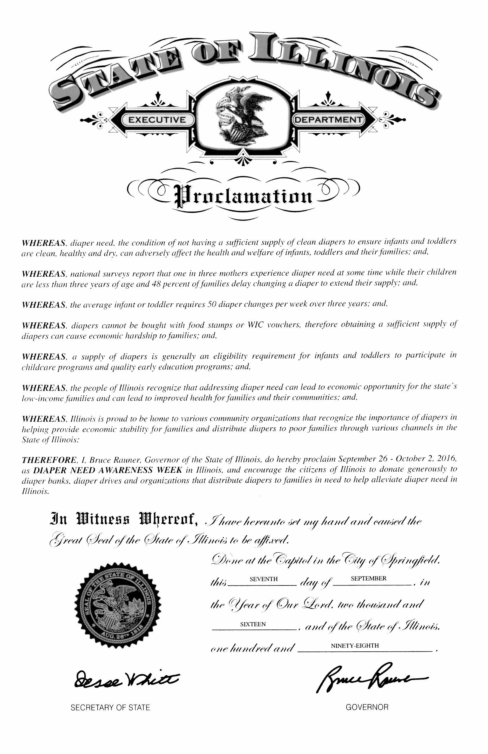 ILLINOIS - Governor Bruce Rauner's proclamation recognizing Diaper Need Awareness Week (Sep. 26 - Oct. 2, 2016) #diaperneed diaperneed.org