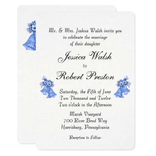 Blue Wedding Bells Invitation 5 X 7 Wedding Stuff Pinterest
