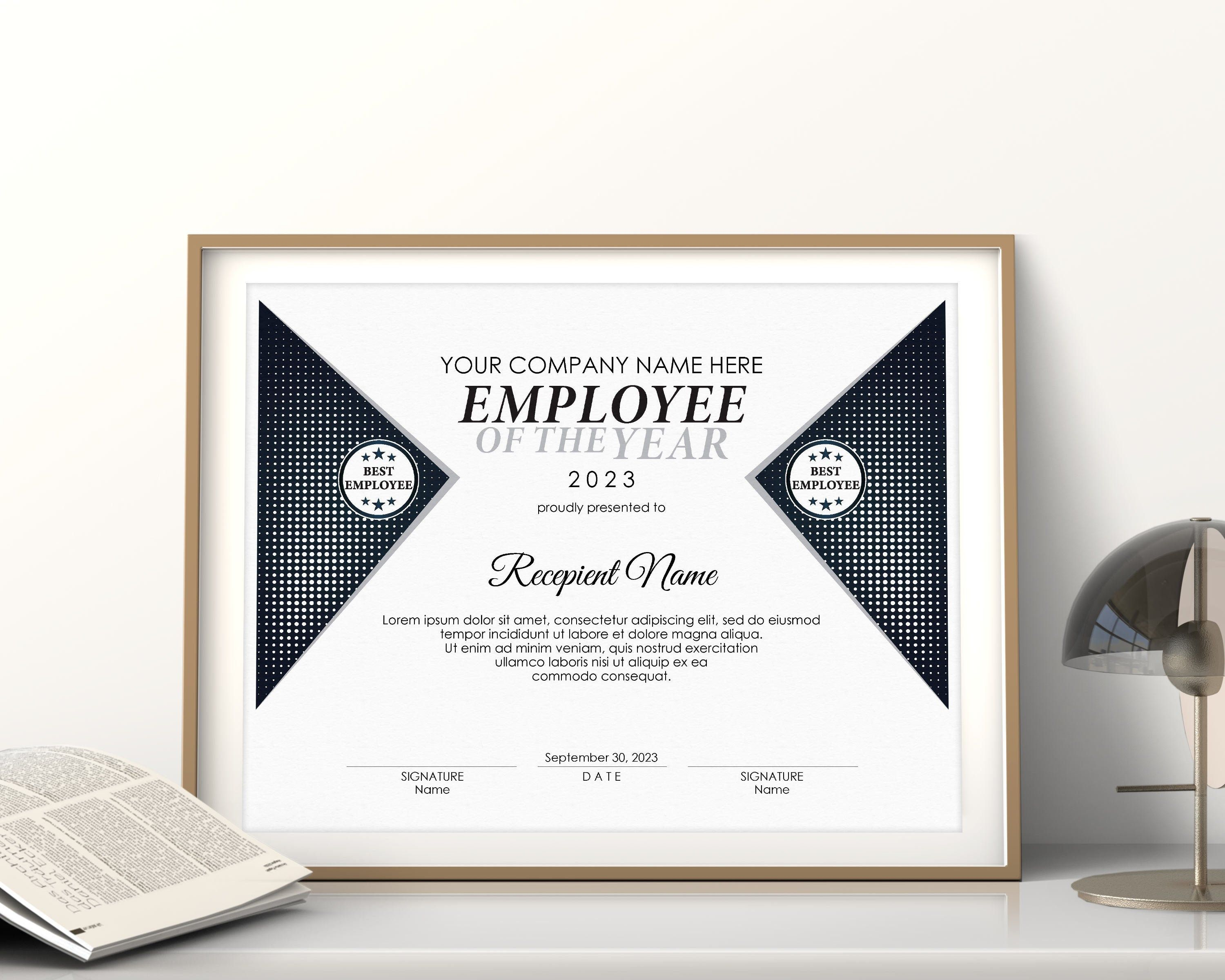 Editable Best Employee Of The Year Certificate Template Etsy Certificate Templates Editable Certificates Printable Certificates Employee of the year certificates