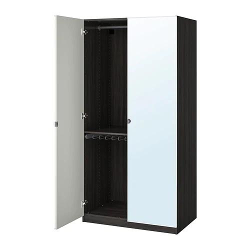 PAX Wardrobe blackbrown, Vikedal mirror glass 39 3/8x23