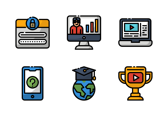 Online Learning Icons By Fauzicon Online Learning Online Icon Learning