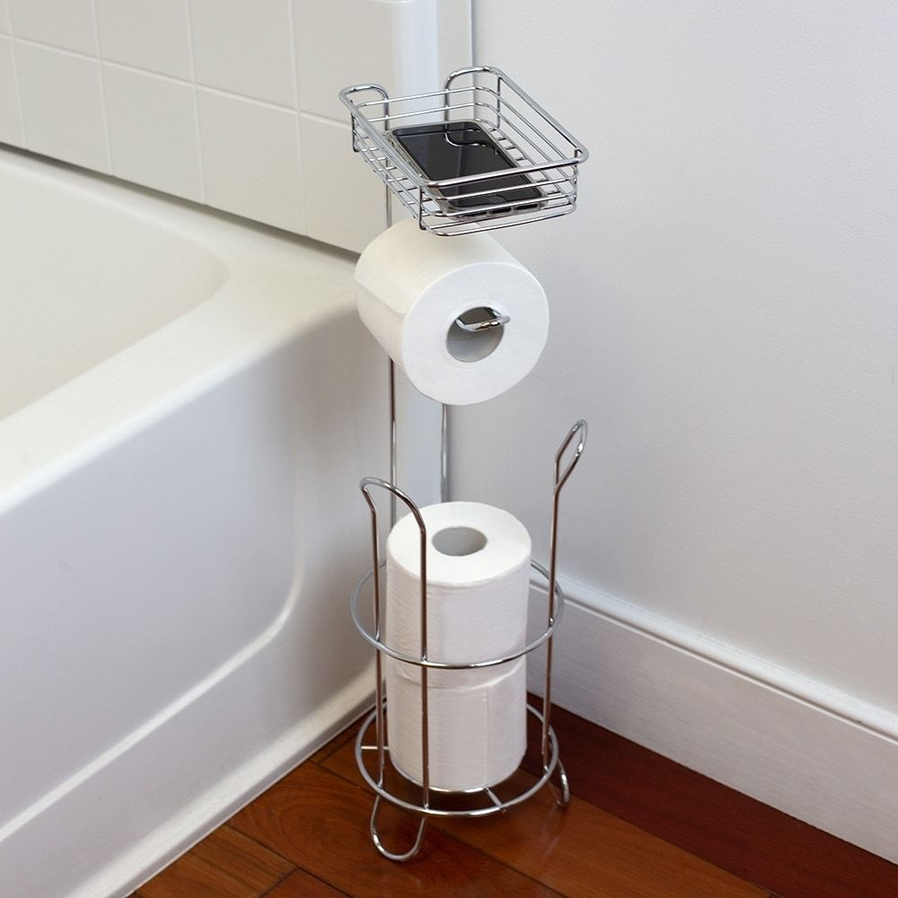 Free Standing Dispensing Toilet Paper Holder With Built In Accessory Tray Silver Home Basi Toilet Paper Holder Free Standing Toilet Paper Holder Paper Holder
