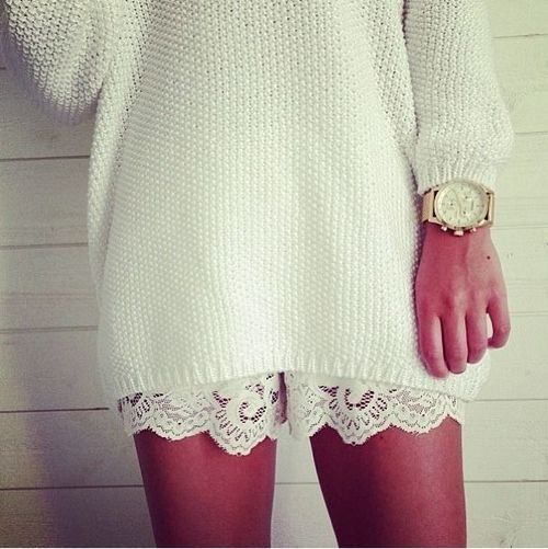 5b77e048bf74 this inspired me for wearing a silk slip dress with lace trim under an oversized  sweater for the perfect look <3