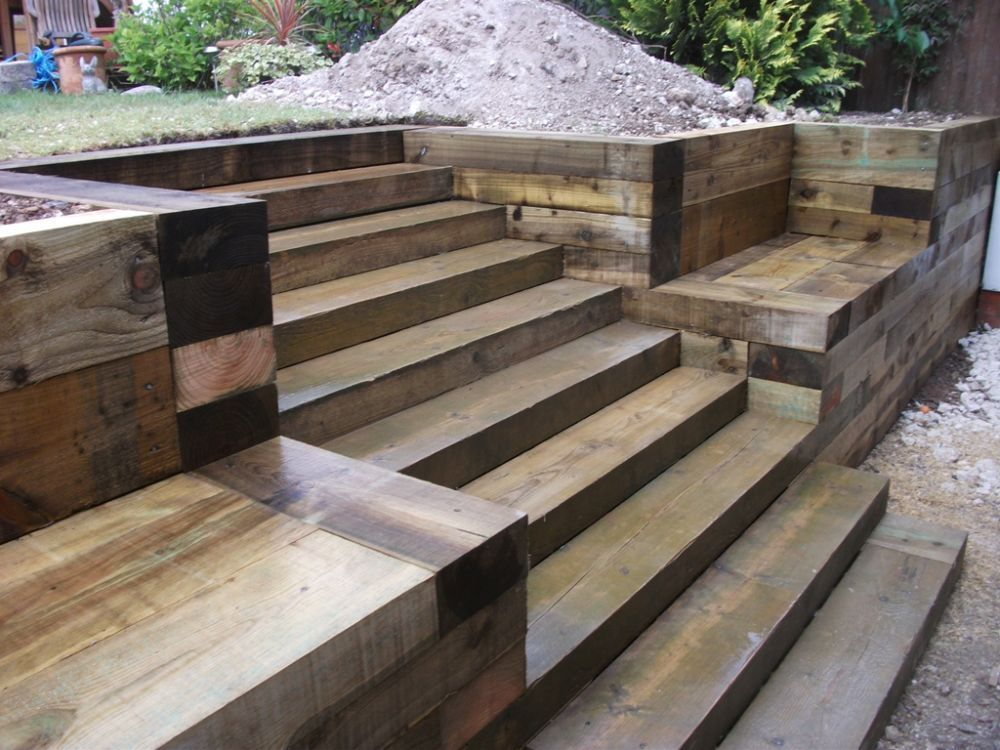 Steps walls patio with new railway sleepers for Garden designs with railway sleepers