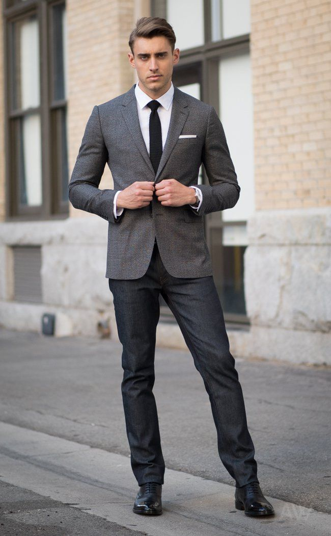 aa2cc793 Grey Sport Coat, White Dress Shirt, Black Knitted Tie, Black Belt, Dark  Wash Jeans, Black Cap Toe Oxford Dress Shoes