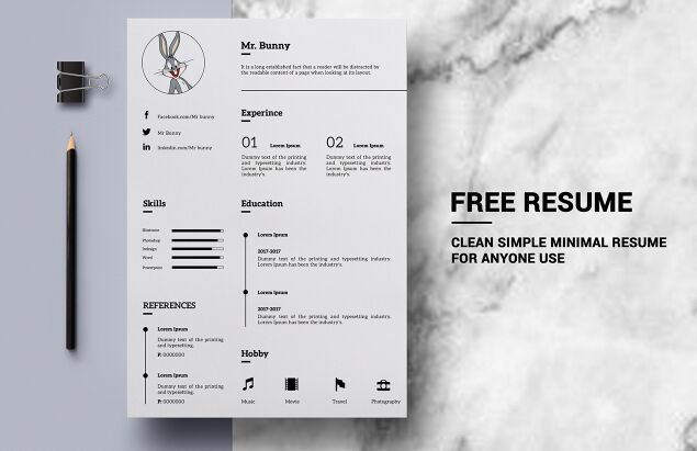 Free Clean Simple Resume Template Psd Titanui Simple Resume Template Resume Template Free Simple Resume