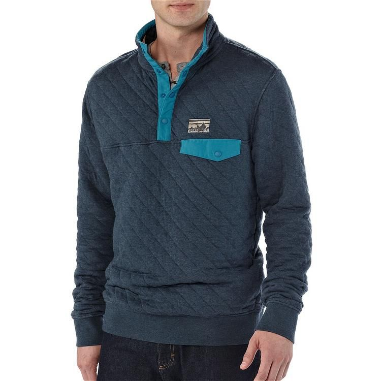 Patagonia Mens Cotton Quilt Snap T Pullover Smolder Blue