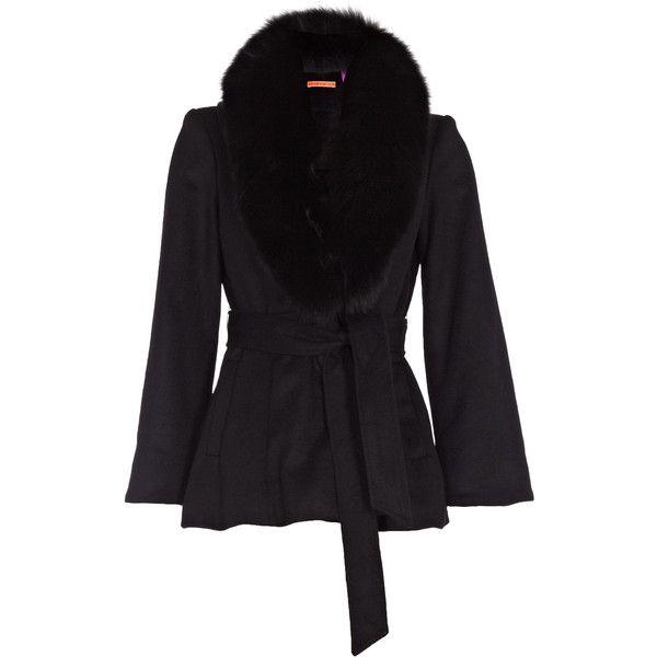 Alice + Olivia Kyan Fur Trim Coat ($1,050) ❤ liked on Polyvore