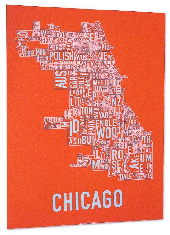 Chicago Neighborhood Map Screen Print Original Artist Of Type - Chicago neighborhood map art
