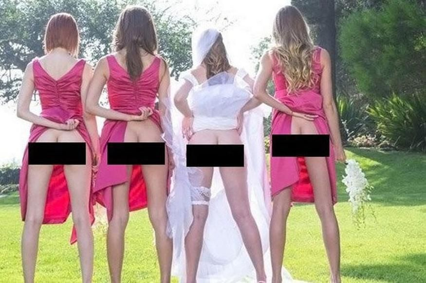 3b622c59f0f Bum-baring bridesmaids  Flashing your PANTIES is latest wedding photo trend.  CHEEKY bridesmaids are spicing up traditional wedding snaps by flashing  their ...