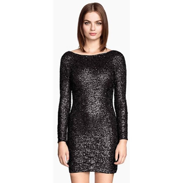 Pink Queen Black Charming Ladies Backless Mesh Sequined Long Sleeve... ($59) ❤ liked on Polyvore featuring dresses, black, mesh dress, black backless dress, backless dress, backless sequin dress and long sleeve cocktail dresses