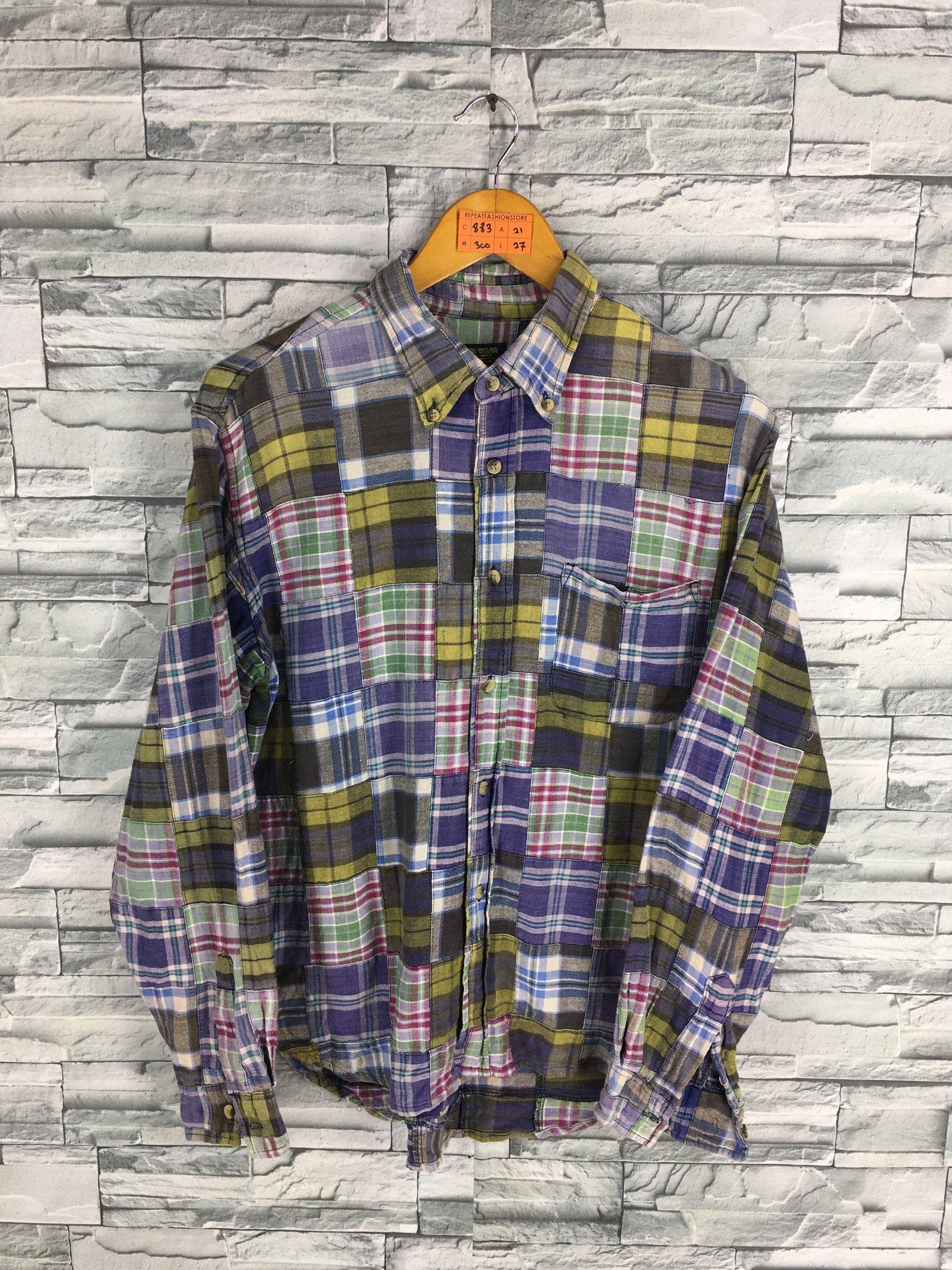 a33e20ffd Vintage 90s Patchwork Shirt Large Patchwork Flannel Checkered Tartan Shirt  Rebuild Flannel Patchwork Buttondown Multicolor Western Size L by ...