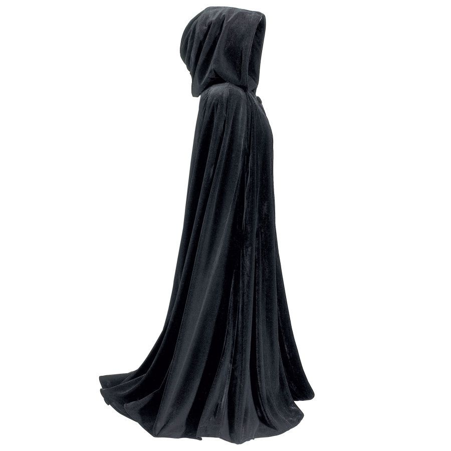 "Full Length Velvet Cape  Witches take notice! Falling in lush, sable folds of crushed black velvet, these spectacular capes make a dramatic entrance wherever you choose to wear them. Both are fully hooded and feature twin slit openings for your hands and wrists. Collar-button closure. Unlined. Dry clean. Made in USA. One size fits most adults. Three-Quarter: 42"" long. Full Length: 54"" long."