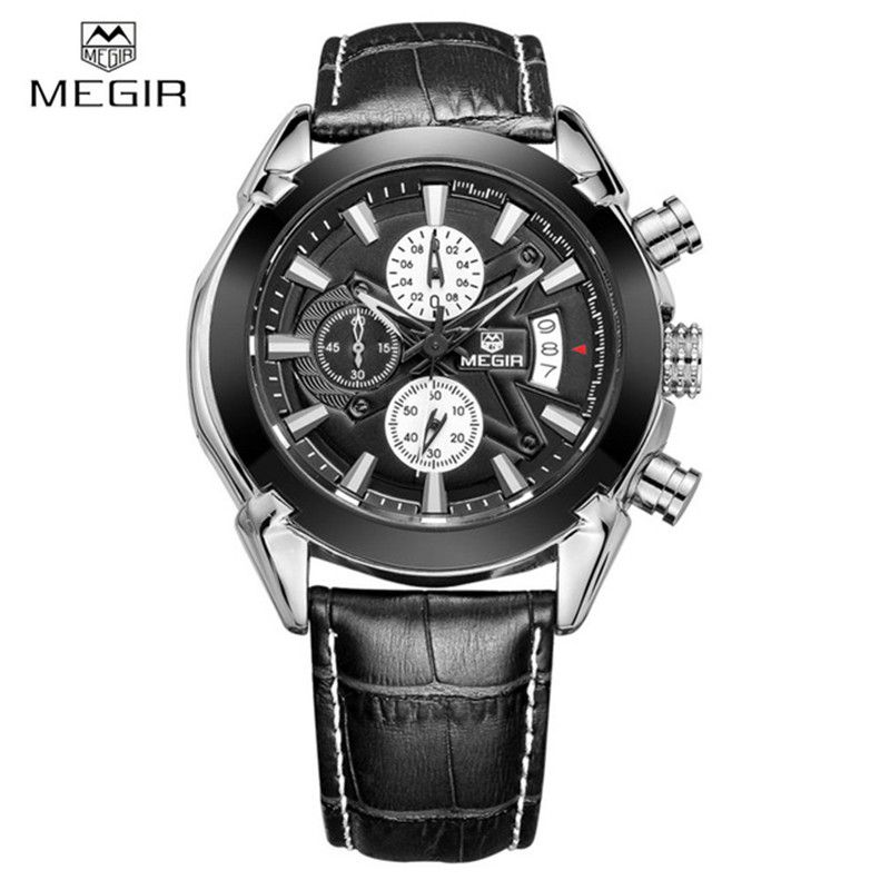 us 50 90 business genuine leather megir watches men casual off business genuine leather megir watches men casual quartz watch chronograph quartz men watches brand luxury famous wristwatch new