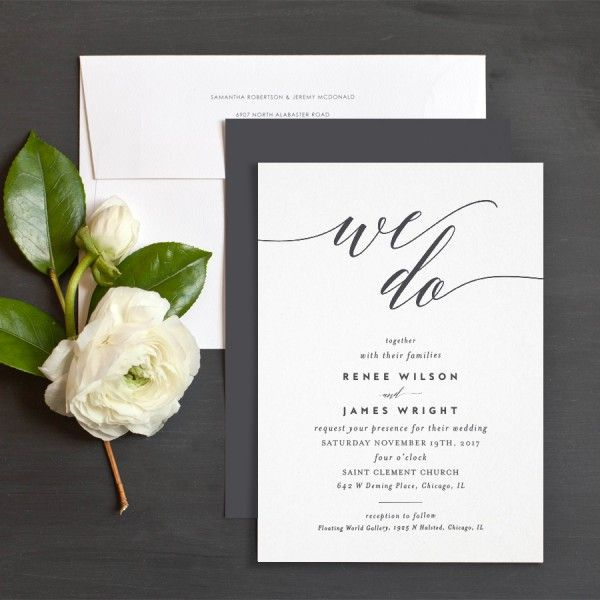 We Do Wedding Invitations by Emily Buford | Black and White Wedding ...
