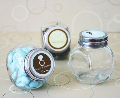candy jar favours baptism christening blue brown Βαπτιση Μπλε