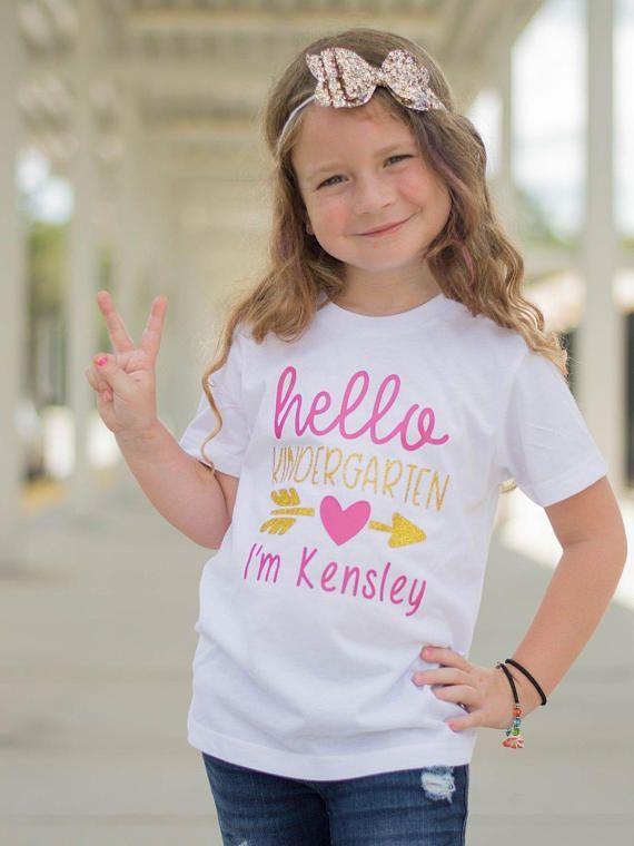 Kindergarten Shirt - Back To School Shirt - First Day of School - School Shirts - Glitter Shirts - Kindergarten - Hello Kindergarten - Girls #firstdayofschooloutfits