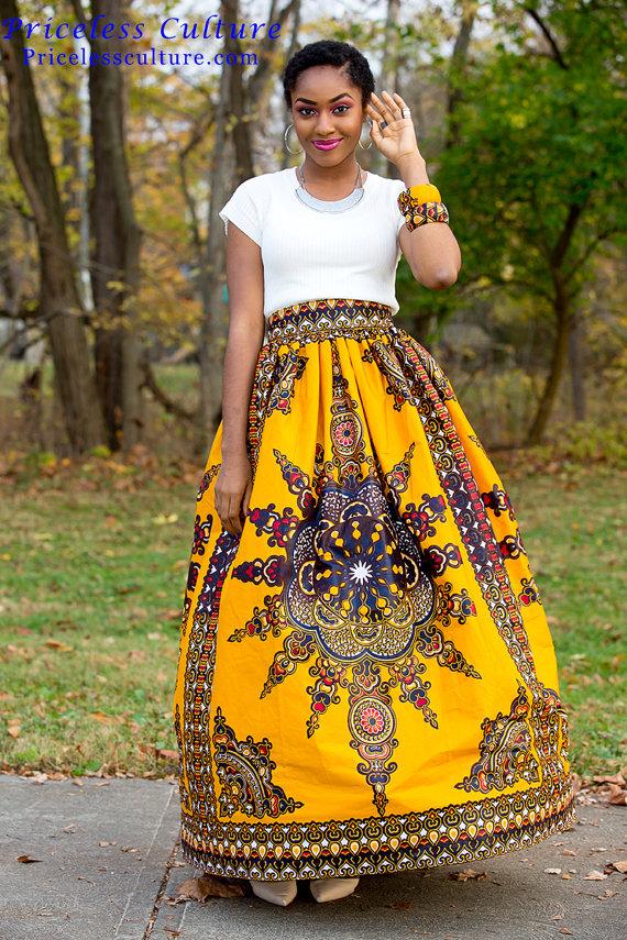 bc9eaf46f1 Yellow Dashiki Maxi Skirt Gathered African Print Skirt African Wedding Dress  Ankara Maxi Skirt Afric