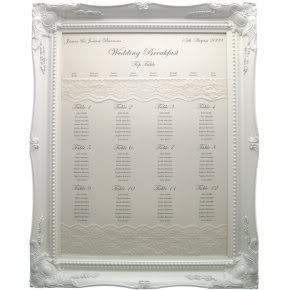 large frame seating chart white frame navy blue print with lace