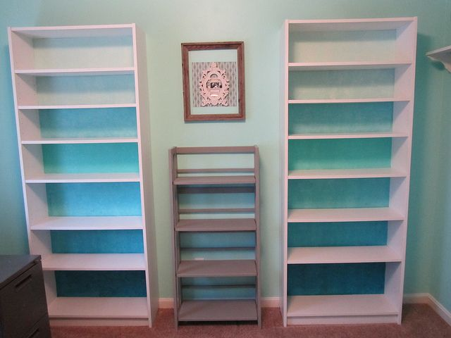 My Billy Bookcase Hack Ombre Blue With Ollar Paint Samples From Lowe S And Embossed Wallpaper