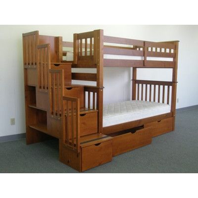 Letti A Castello Di Violetta.Harriet Bee Tena Tall Stairway Twin Over Twin Bunk Bed With