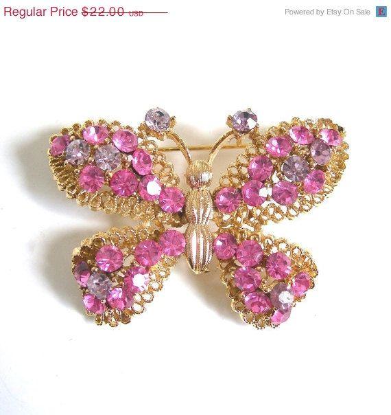 Pink Rhinestone Butterfly Brooch circa 1970 by AtticDustAntiques