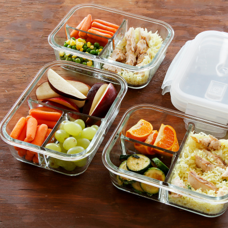 3 compartment glass meal prep