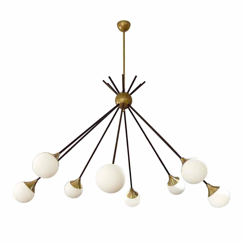 Very Elegant Eight-Light Italian Chandelier in the Style of Stilnovo ...